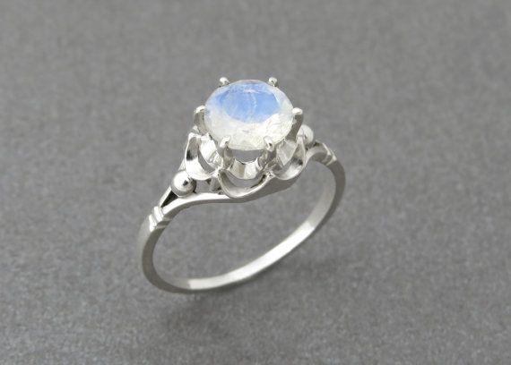 Unique Engagement Ring Rainbow Moonstone Engagement by SivanLotan