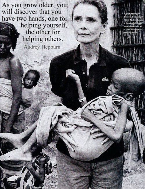 Audrey Hepburn spent many years in Africa helping the helpless. Yet all the pict