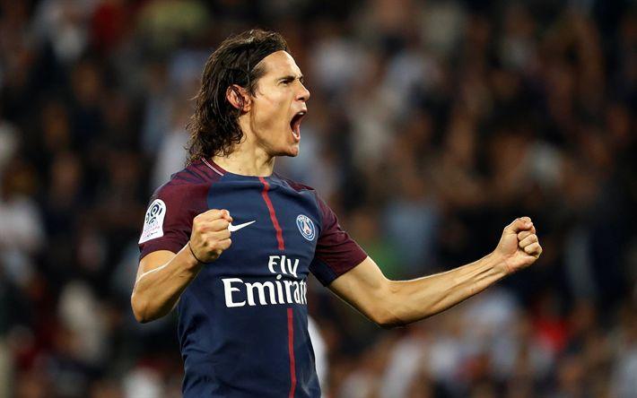 Télécharger fonds d'écran PSG, Edinson Cavani, joy, match, footballers, soccer, Ligue 1, Paris Saint-Germain, Liga 1