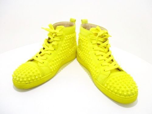 a1f9038cc19e Auth CHRISTIAN LOUBOUTIN Louis Flat 1140217 Yellow Suede Men s Sneakers  43   christianlouboutinflats