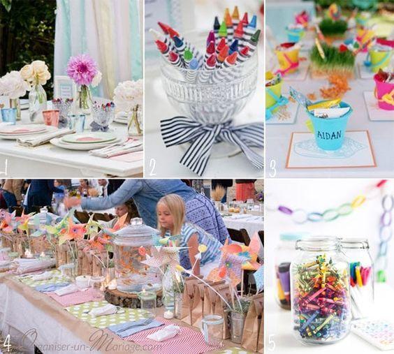 Décorations tables enfants mariage fête coloriage