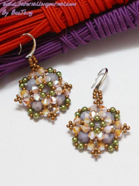 - 8 pcs. Czech Fire Polished 6mm. (Amethyst Luster or Lavender Luster) - 32 pcs. Swarovski bicone 4mm. (Rose Alabaster 2X) - 24 pcs. Swarovski Pearl 3mm. (Light Green) - 8 pcs. Swarovski Pearl 4mm. (Light Grey) - 1g. 11/0 Seed beads (Czech Supra Metallic Light Copper)