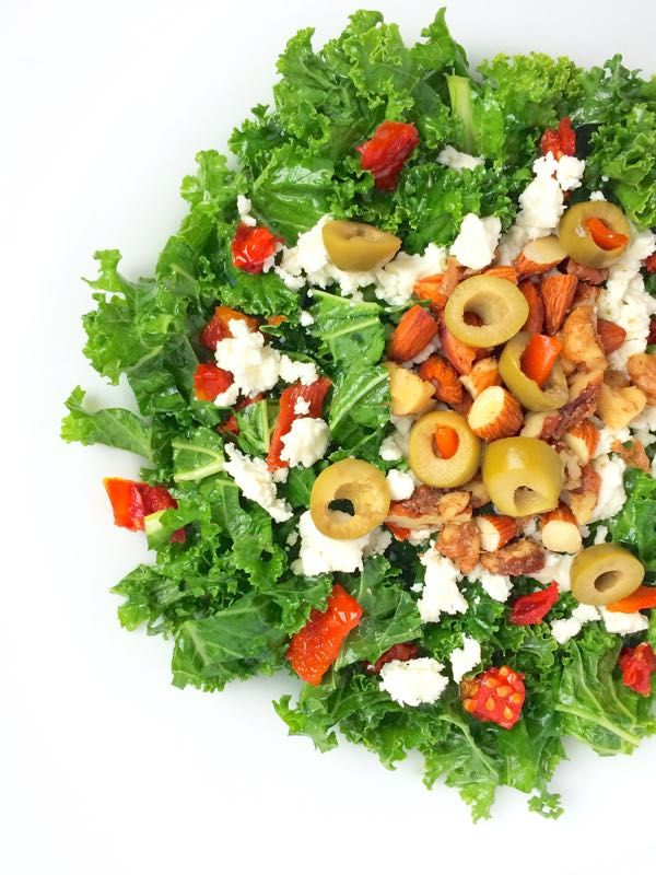 Kale Salad with Green Olives, Almonds and Feta - The Lemon Bowl