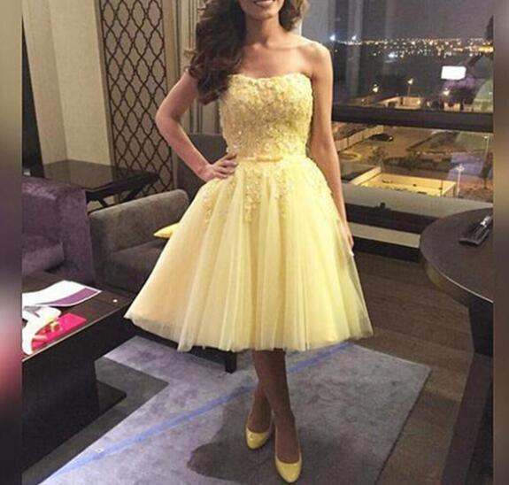 cute yellow tea length tulle prom dress, #promdresses, # ...
