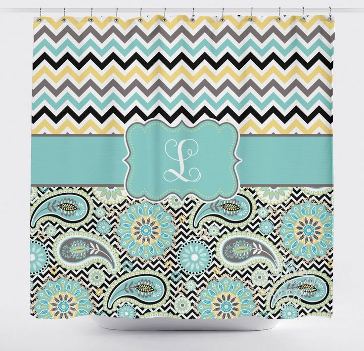 Chevron and Paisley Monogrammed Shower Curtain   Personalized Chevron Shower  Curtain   Paisley Curtain   Aqua and Yellow Sibling CurtainBest 25  Chevron shower curtains ideas on Pinterest   Gray chevron  . Teal And Yellow Shower Curtain. Home Design Ideas