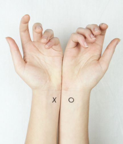 Romantic Valentine's Day Gifts: X and O Hugs and Kisses Couples Temporary Tattoo (6 pieces) by Pepper Ink @ Etsy