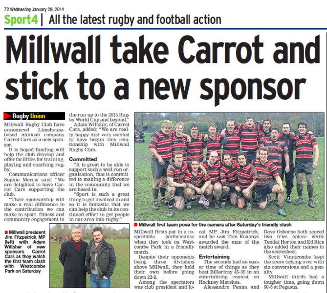 Back in the news!! Sponsoring Millwall Rugby Club