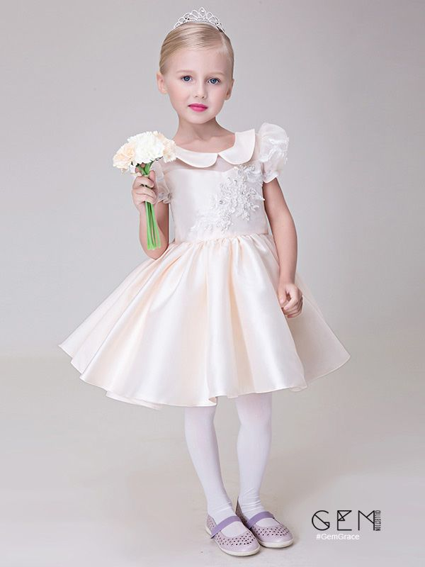 f32b8e5225ca Pale Pink Collared Lace Satin Flower Girl Dress with Short Sleeves ...
