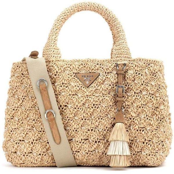 Prada Rafia Tote (£1,405) ❤ liked on Polyvore featuring bags, handbags, tote bags, prada, beige, beige tote handbags, prada tote, prada handbags and tote handbags