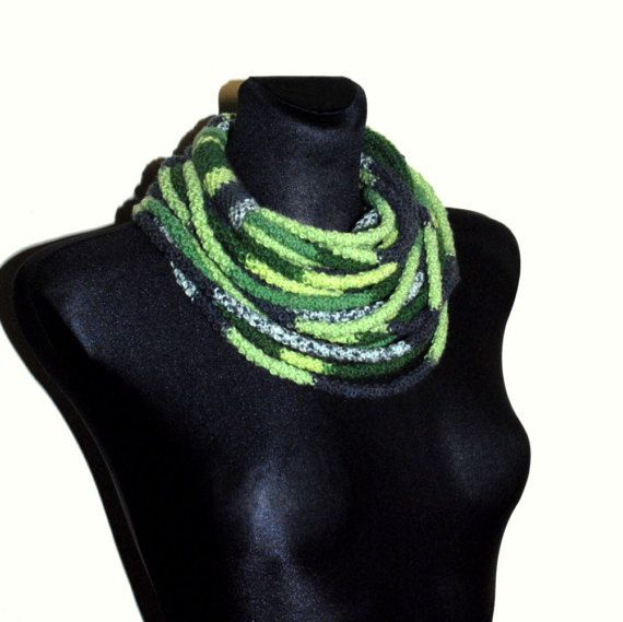 Grey and Green Infinity Scarf Grey and Green Crochet Scarf #greenscarf #crochetscarf #handmade #chunky