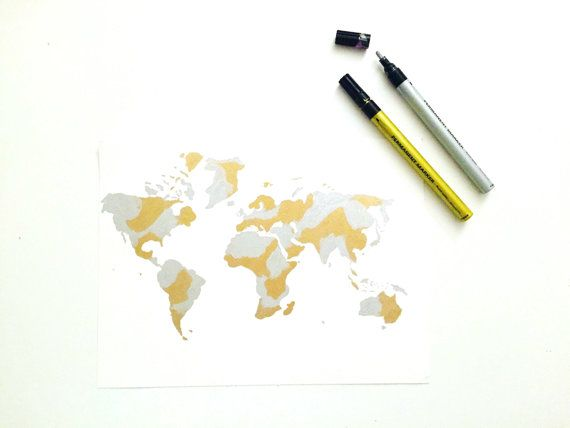 Handmade Gold/Silver Foil Look World Map Painting by Colortastico