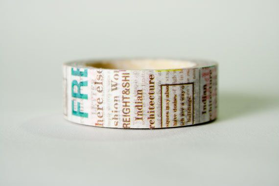 Multicolor Newsprint Washi Tape by HexagonInc on Etsy, $3.50
