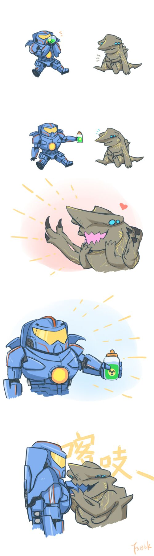 Awwwww. Friends forever Jaegers and Kaiju.