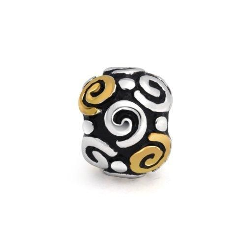 Bling Jewelry Two Tone Spiral Swirls Stopper Clasp Bead Fits Pandora 925 Silver