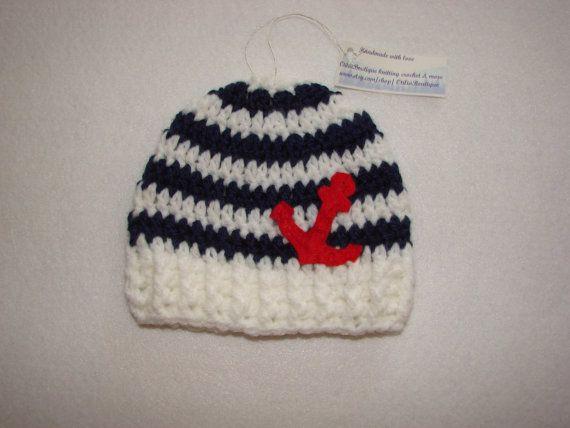 Ganchillo bebé sombrero náuticas gorrita tejida por OtiliaBoutique