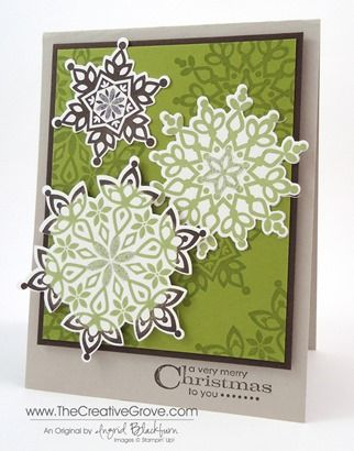 Festive Flurry clean and simple non-traditional Christmas card. I'm on a kick since I just released my online Festive Flurry class. #easychristmascards #snowflakes #christmascards