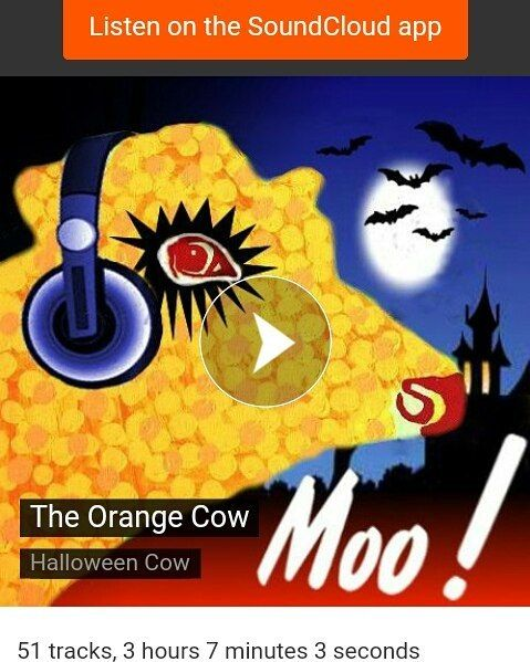 A free Orange Cow Halloween playlist on Soundcloud here - https://m.soundcloud.com/theorangecow/sets/halloween-cow  #free #freestuff #cow #theorangecow #halloween #clockworkorange #soundcloud #music #playlist #art #artist #paintings #thriller #moo #milk #cows #orange #monstermash #horror #partytime #party #halloweenplaylist