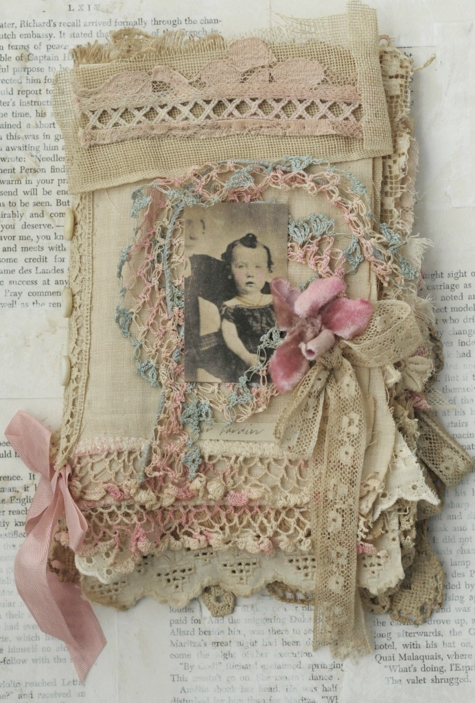 Mixed Media Fabric Collage Book of Amour Et Rose
