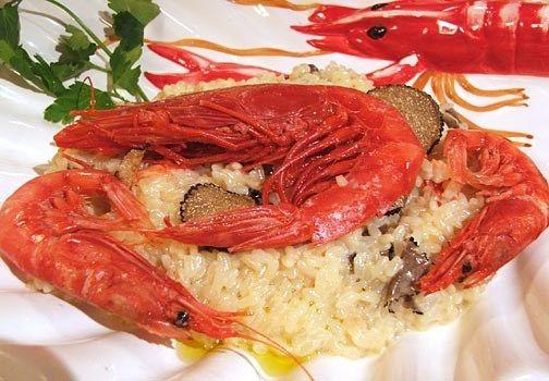 risotto con tartufo e gamberi rossi di Sicilia