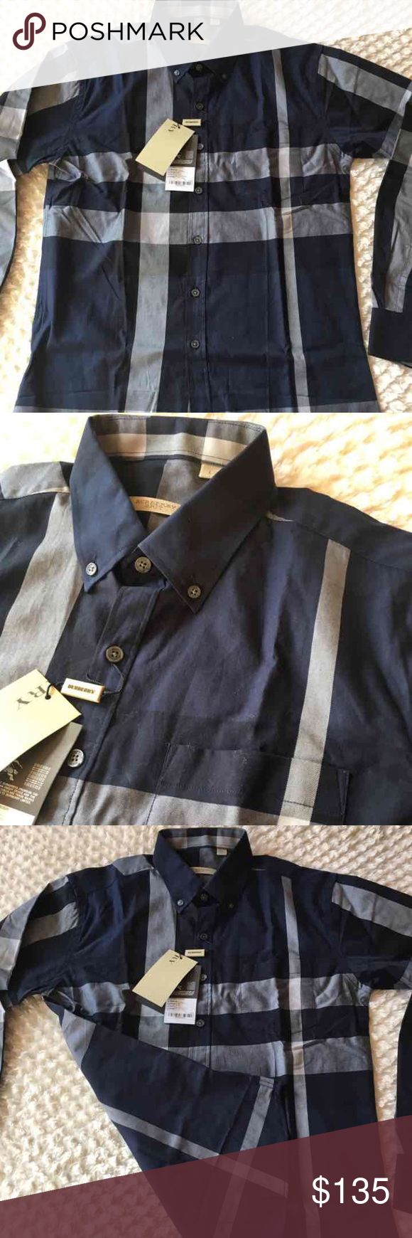 New burberry shirt for men L New with tags burberry shirt for men size Large , 100% cotton, navy blue color Burberry Shirts Casual Button Down Shirts