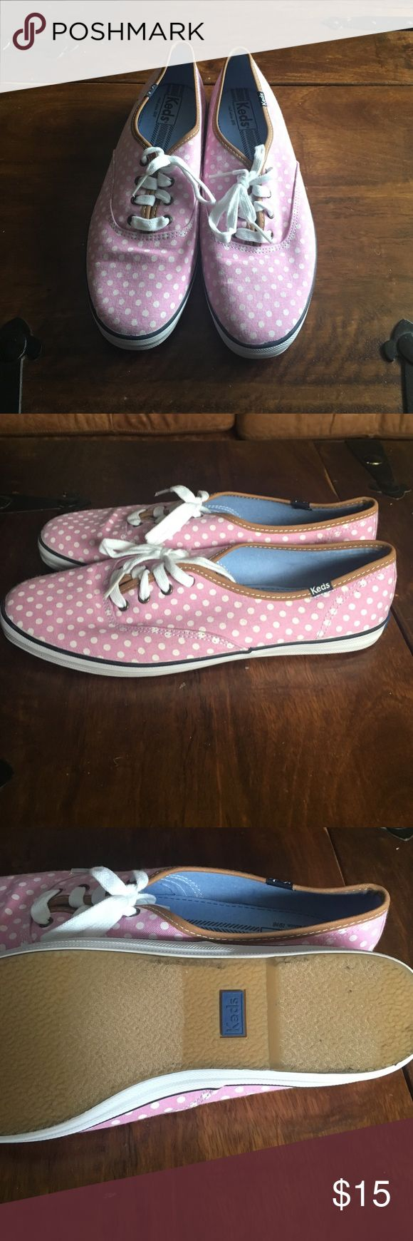 KEDS Sneakers in Pink with White Polka Dots KEDS Sneakers in Pink with White Polka Dots. Worn once, but like new condition. Keds Shoes Sneakers