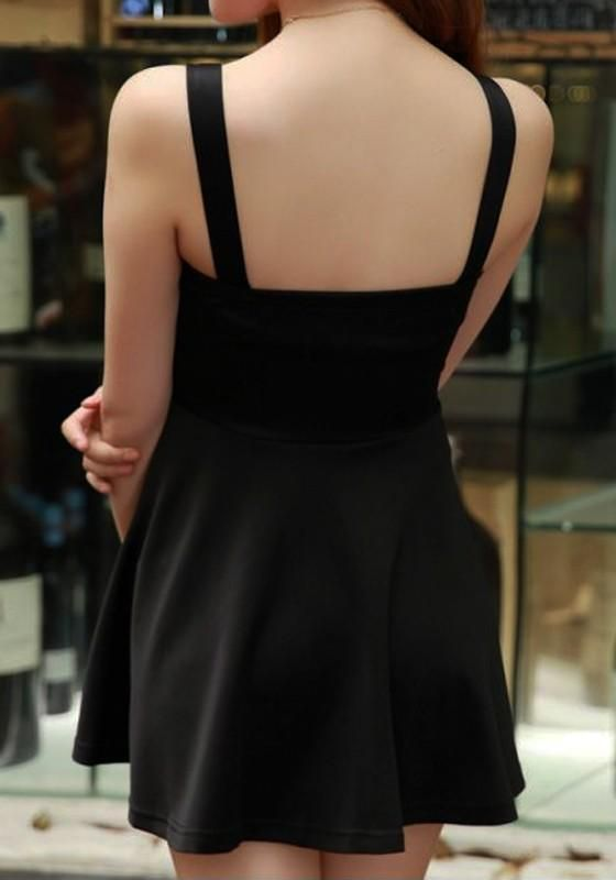 Black Plain Bow Draped Square Neck Mini Dress – Women Fashion Idea