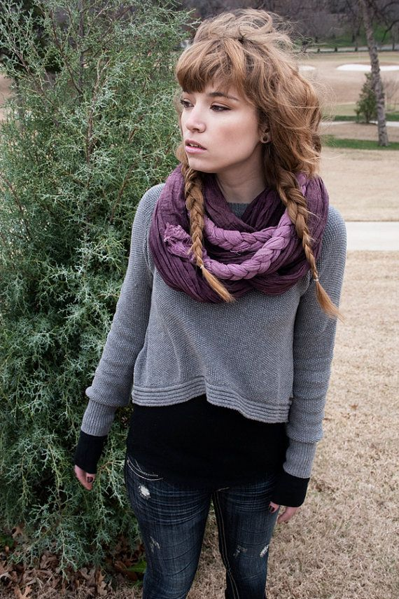 Ombre Braided Plum Scarf by russkk on Etsy