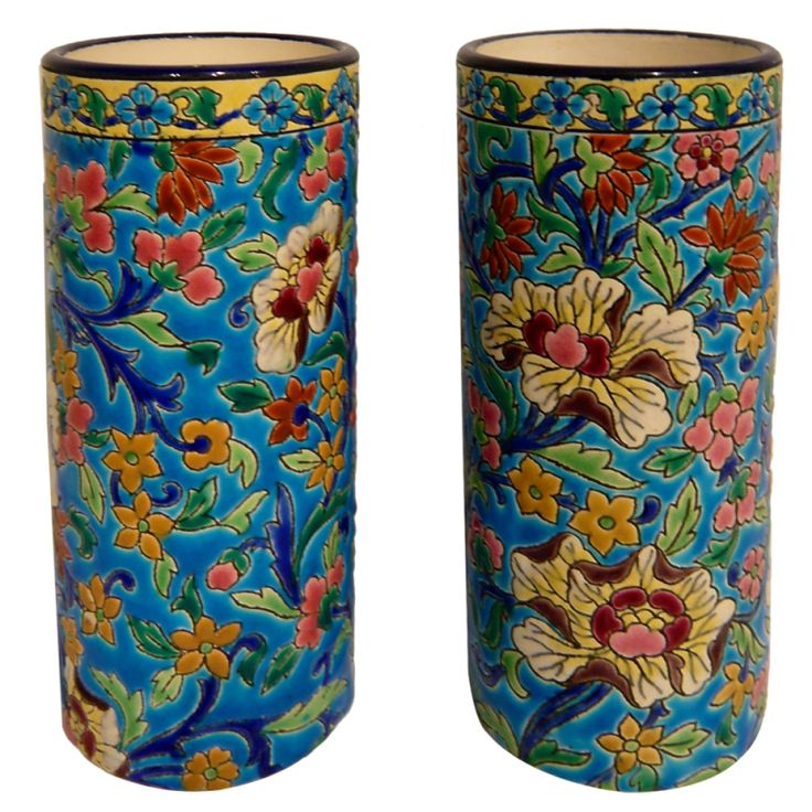 Pair of French Pottery Vases by Longwy | From a unique collection of antique and modern vases at https://www.1stdibs.com/furniture/dining-entertaining/vases/