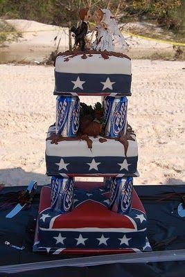 Redneck Wedding Cake With Beer Cans