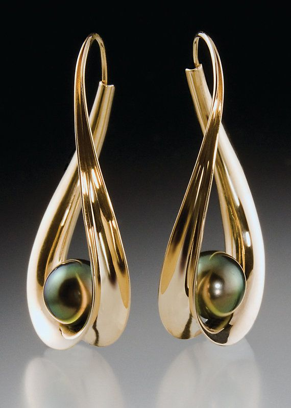 14K Gold earrings with Black Tahitian Pearls by ScavezzeGoldsmith, $1000.00