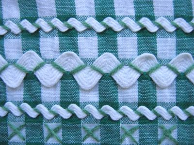gingham + ric-rac + cross stitch