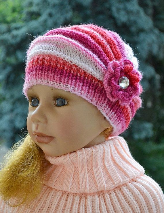 Knitted Children's hat/cap red pink cream fuchsia by DosiakStyle
