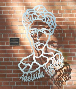 Wall sculpture or Adelaide Hoodless at University of Guelph. The shadow on the wall gives good portrait.