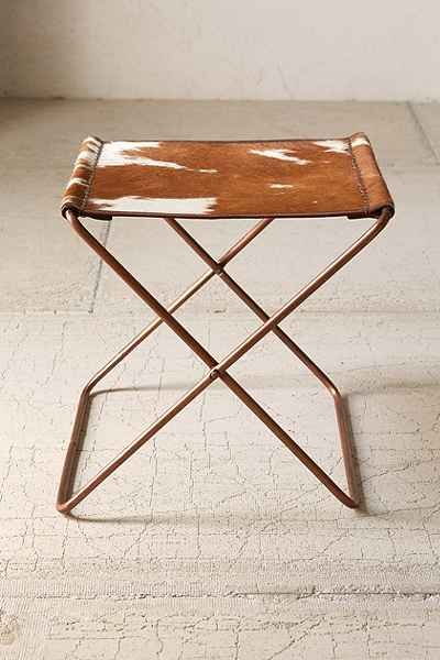 Cow Hide Folding Sling Stool Urban Outfitters Folding