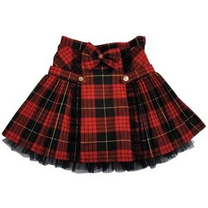 Ninachka Couture Black/Red Tartan Flirty Skirt w/Buttons and Bow (Pre-Order) | Girls Boutique Clothing