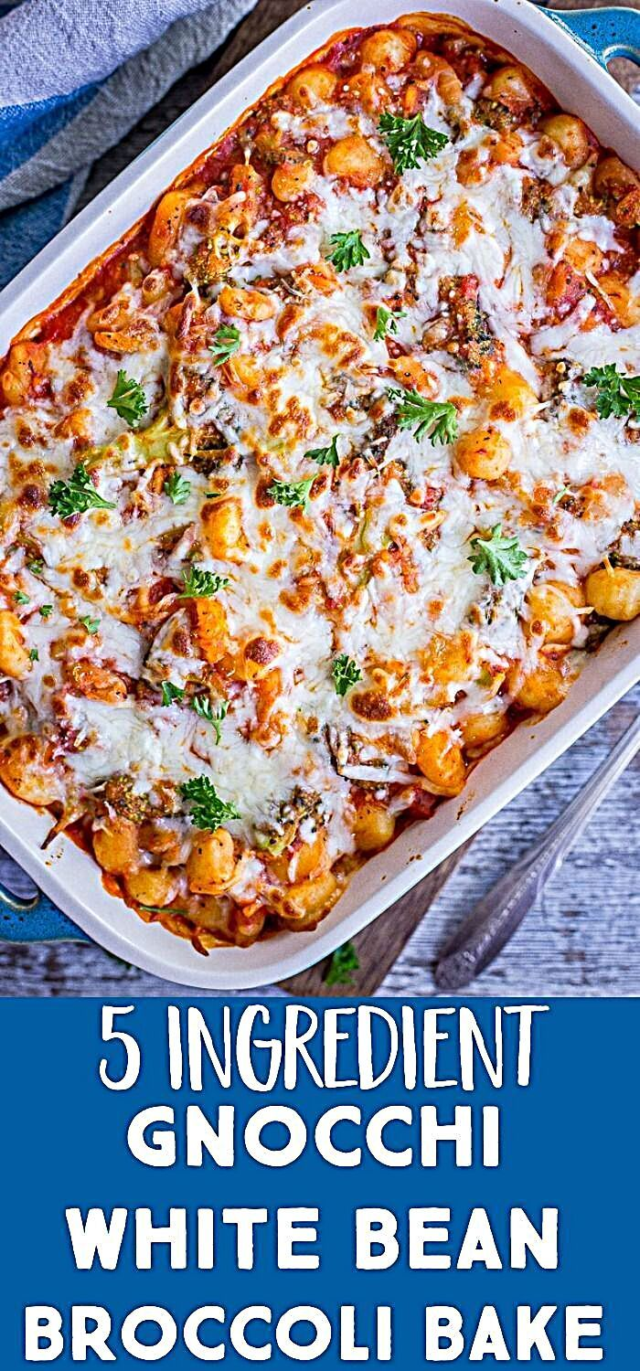 This Gnocchi White Bean And Broccoli Bake Only Has 5 Ingredients It S Vegetarian Recipes Dinner Easy Vegetarian Dinner Vegetarian Dinners