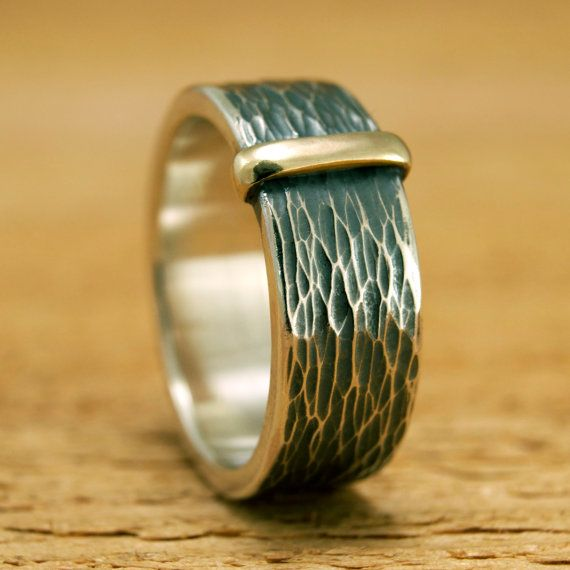 Chunky Textured Sterling Band with Gold Collar