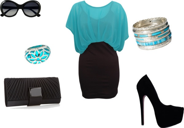 """""""Black and Turquoise Dress"""" by diamond-look on Polyvore"""