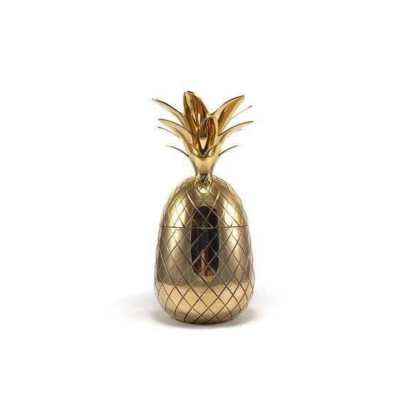 11 1/2 Tall Vintage Style Brass Pineapple Container by HarpersFlea