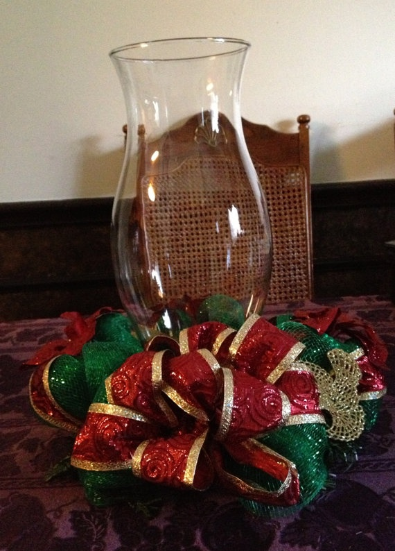 Christmas hurricane lamp with deco mesh by PrettySweetCrafts, $35.00