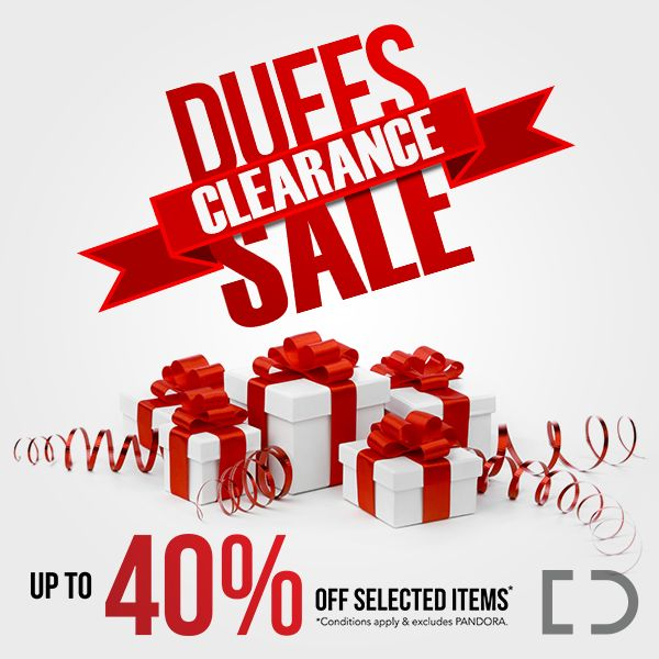   Duffs Clearance Sale!   It isn't very often that Duffs Jewellers has a SALE, but when they do you know it will be BIG! For a limited time only, save up to 40% off selected items. Visit in store between 8th to 24th June to get some great savings on diamonds, fine jewellery, watches, opals and fashion jewellery. Lay-by and finance available - ask in store for terms. Sale T&Cs apply, excludes PANDORA. #DuffsJewellers #Sale