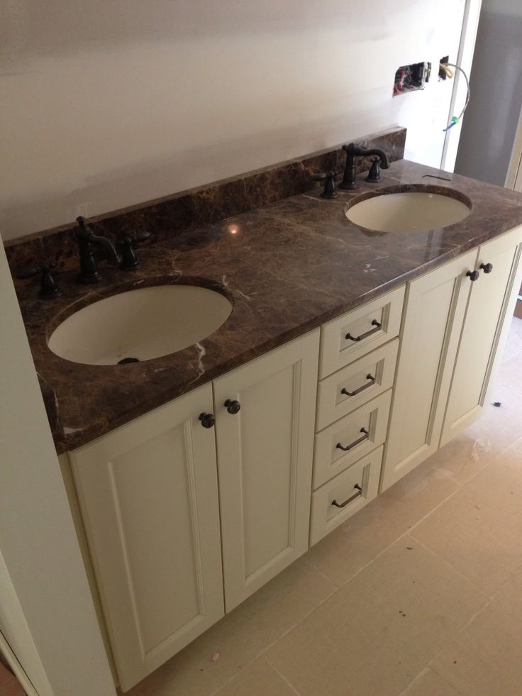 Glamourous Bathroom Vanity Tops Ideas With Under Mount Sink And Brown Granite Tops And White Cabinets Knobs And Oil Rubbed Bronze : Bathroom Vanities With Tops Combos, Vanity Tops With Sink Bathroom, Discount Bathroom Vanity Tops, Marble Bathroom Vanity Tops, Bathroom Vanities With Top.