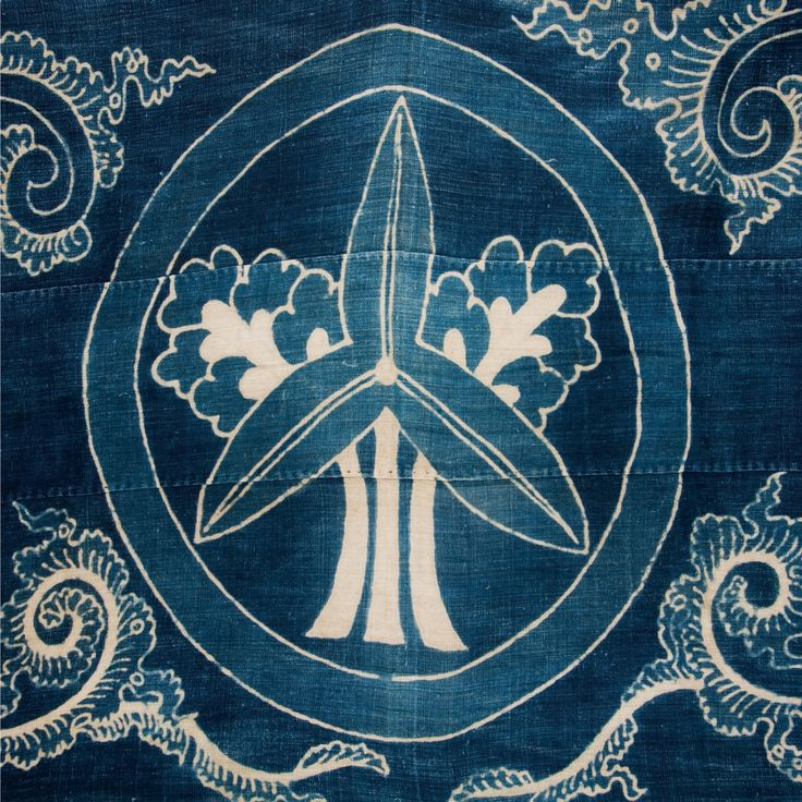 indigo textile pattern family crest