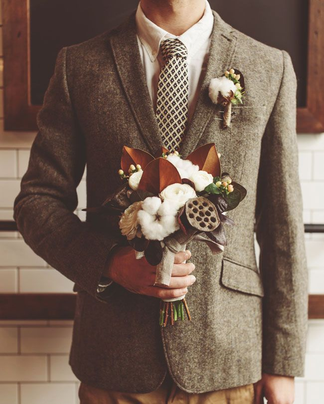 Movember Elopement by Green Wedding Shoes. This Autumn outfit is spot on! The warm colors and textures are great. And that bouquet is beautiful. Who would have thought I would swoon over cotton in a floral arrangement?