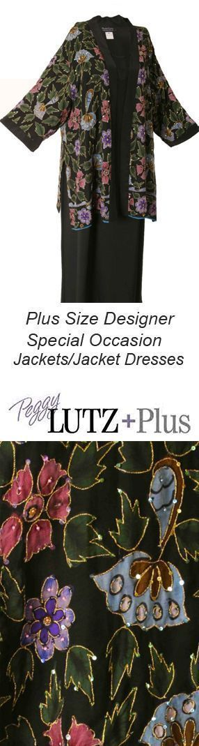 Tunic Length Kimono in handpainted, jeweled silk is fully lined and available in our Size L (26/28).  #PeggyLutzPlus #plussizefashion #plussizemotherofthebride  #plussizespecialoccasion #plussizedesigner #plussizebeadedjackets