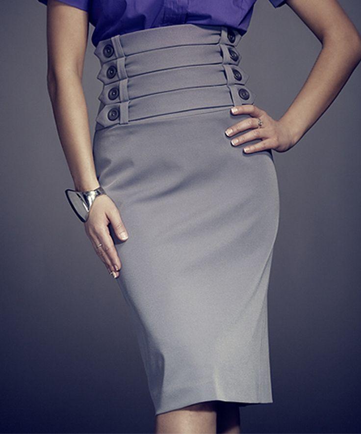 Look at this #zulilyfind! FIGL Gray Button-Strap High-Waist Skirt by FIGL #zulilyfinds