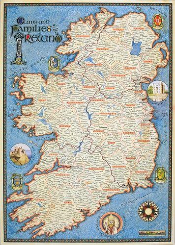 Map Of Ireland: Genealogy Maps of Ireland traditional artwork