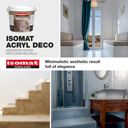 Transform your space and achieve a minimalist and relaxed feel with ISOMAT ACRYL DECO! This pasty, ready-to-use, decorative acrylic coating comes out in numerous modern color hues and is used as a decorative finish on floors, walls, stairs or for creating build-in furniture in bathrooms, kitchens etc. It offers a smooth final surface with unique style, similar to that of microcements, but with outstanding durability. For more information, visit…