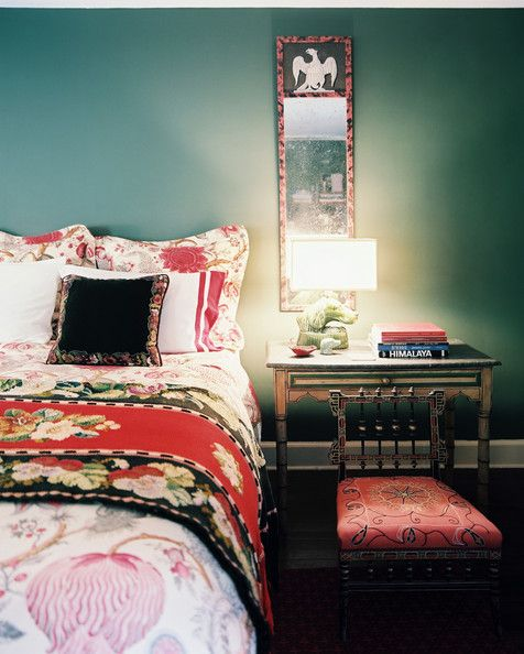 Bedroom Photo - A mix of floral patterns in a green bedroom