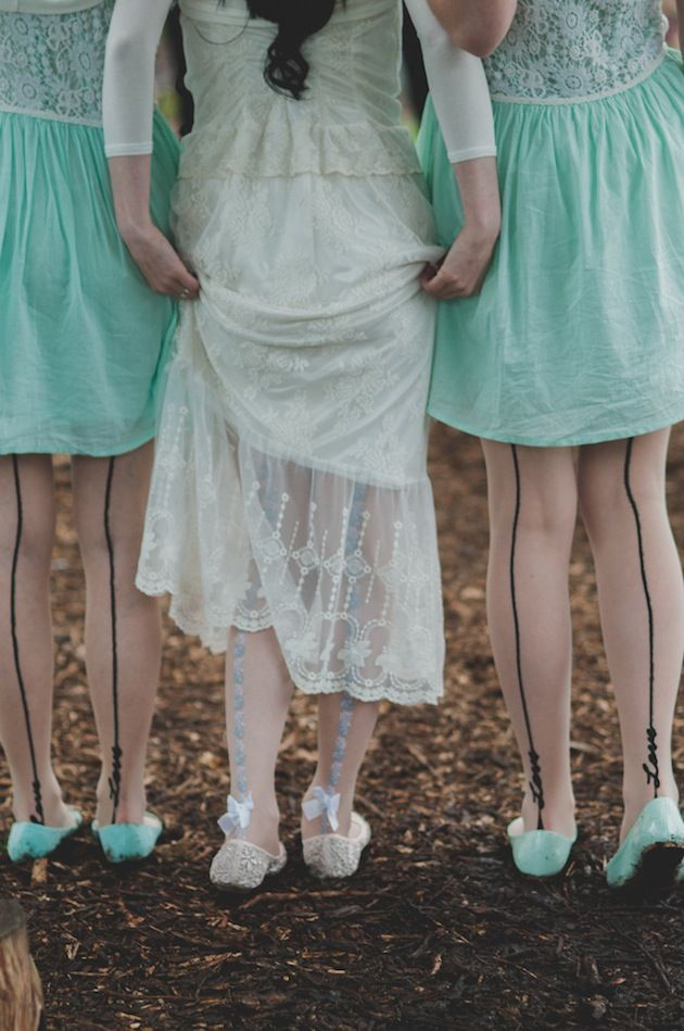 cute tights for the bride and her bridesmaids!